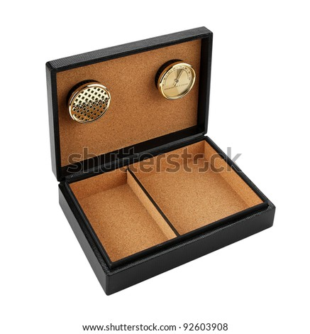 black leather cigar humidor isolated on white background
