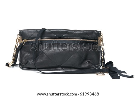 black leather clutch isolated on white