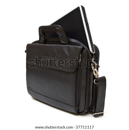 Black leather computer bag with laptop isolated on white background