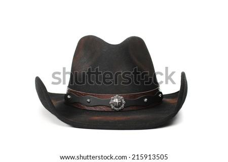 a3ff1e87bf25e black leather cowboy hat on a white background  215913505