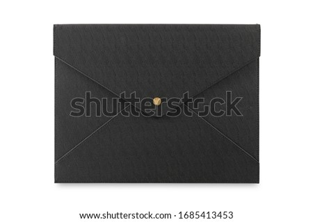 Black leather document case with gold clips isolated on white background. Foto d'archivio ©