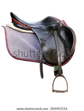 Black leather dressage saddle isolated on white background