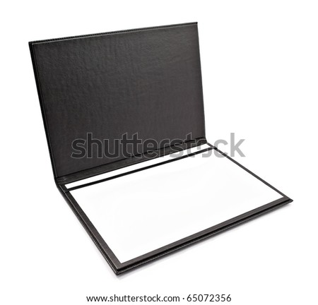 Black leather folder for paper isolated