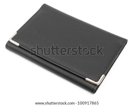 Black leather folder isolated on white