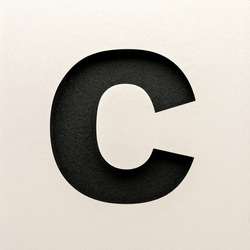 Black leather Font design, Abstract alphabet font, realistic typography - C