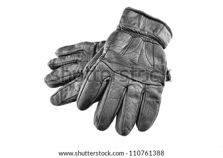 black leather hand gloves isolated on white