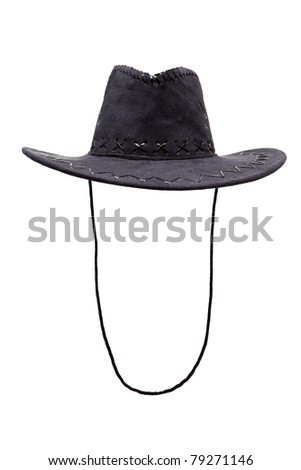 Black leather hat isolated