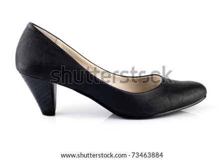 Black leather high heels pumps on white background