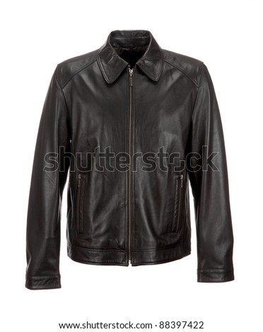 black leather jacket  isolated on white background