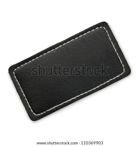 Black leather label isolated on white