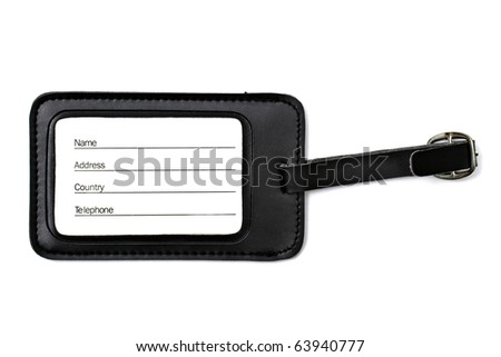 Black leather Luggage tag isolated on white background