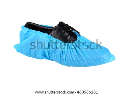 black leather mens shoe in overshoes isolated on white background  #460586281