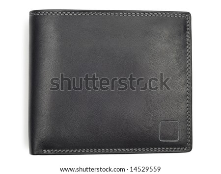 Black leather new wallet isolated over white background