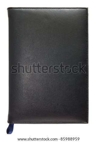 Black leather note book isolated on white background
