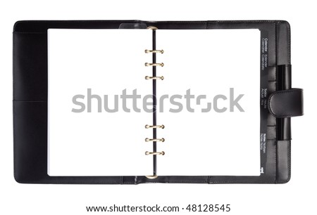 Black leather organizer notepad copybook scheduler isolated over white background - stock photo