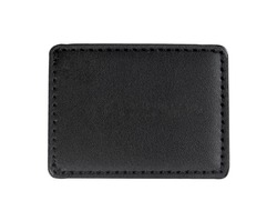 Black leather patch isolated white background.Clipping path