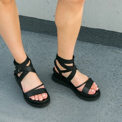Black leather platform sandals on model