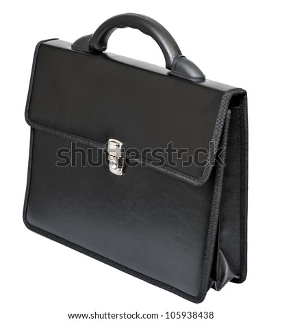 black leather portfolio on a white background