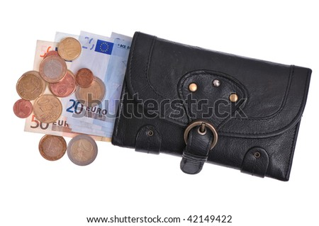 Black leather purse with euro and coins - stock photo