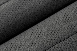 Black leather seat with perforation in the car