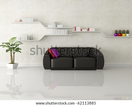 black leather sofa in a white modern living room - rendering