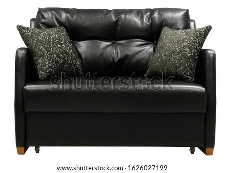 Black leather sofa. Sofa isolated on white background. Including clipping path