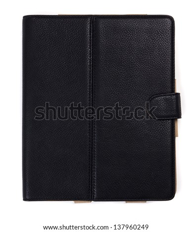 Black leather tablet computer case on a white background
