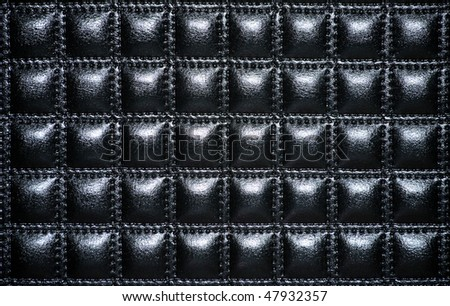 Black leather upholstery of furniture
