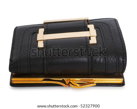 Black leather wallet isolated on white background.