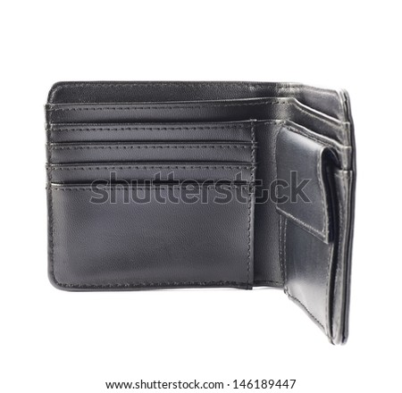 Black leather wallet, opened, isolated over white background