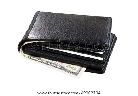 Black leather Wallet with cards and cash isolated on white background