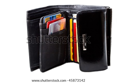 Black leather wallet with credit cards close up isolated