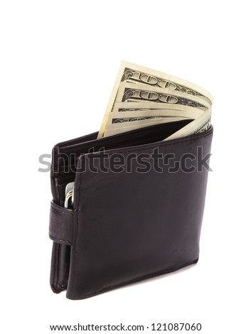 Black leather wallet with dollars and credit cards isolated