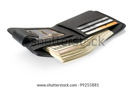 Black leather wallet with dollars and plastic cards isolated on white background.