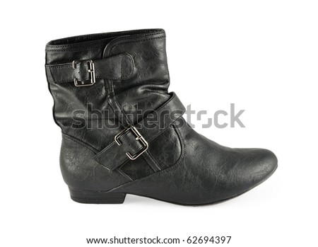 black leather women boot isolated on white