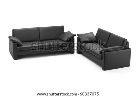 Black leathered furniture isolated on white background