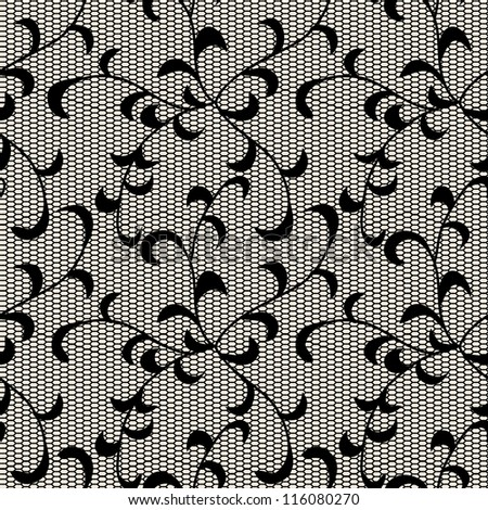 Black leaves lace pattern.