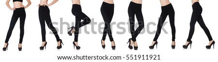 Black leggings in beauty fashion concept isolated on white #551911921