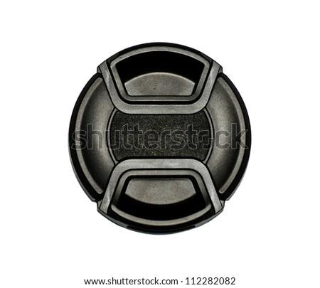 Black lens caps on the white background. #112282082