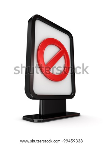 Black lightbox with red stop symbol.Isolated on white background.3d rendered.