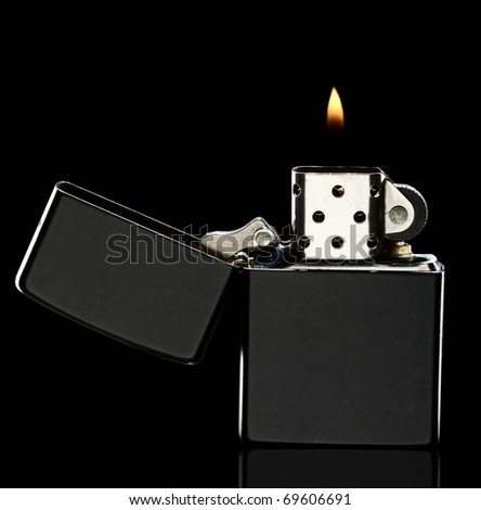 black lighter lit in black
