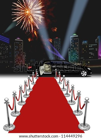 Black Limo and red carpet with buildings and fireworks