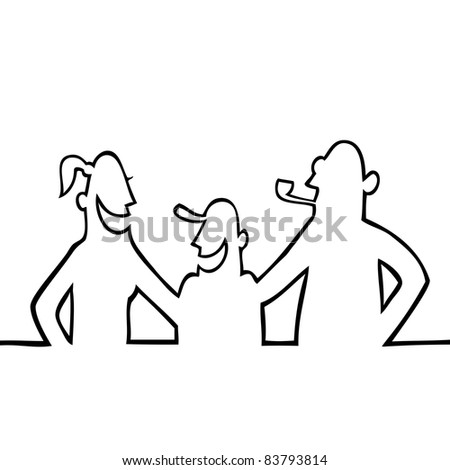 Black line art illustration of a typical family.