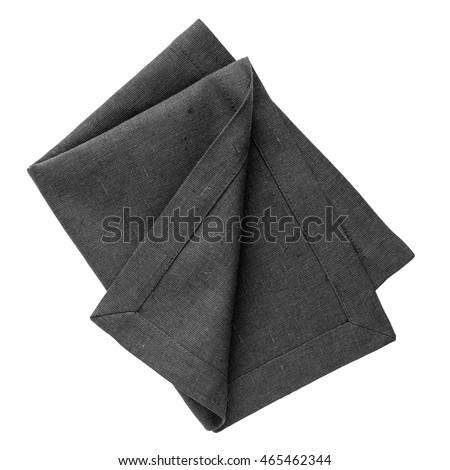 Black linen napkin isolated on white background