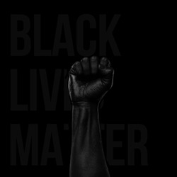 black lives matter, blackout tuesday, blackout week, racial injustice, black fist in air on black background, Fight racism.