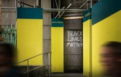 Black Lives Matter Graffiti on Urban Setting in City of London, UK