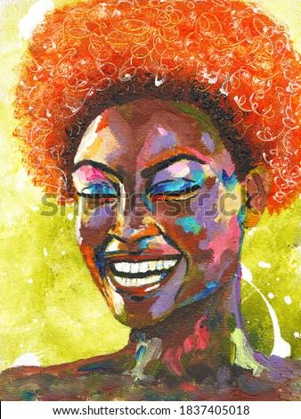 Black lives matter. Portrait of african woman in street style hand drawn acrylic on canvas. Pop art style picture. Acrylic beauty african woman. Painting fashion illustration.