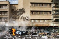 Black Lives Matter protest riot vandalism, looting aftermath concept, flaming police car smashed, overturned with black lives matter text slogan message on building. Excessive force, police brutality