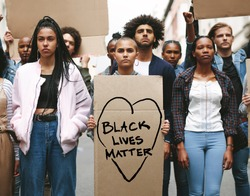 Black lives matter protest. Young people protesting to show that they stand against racism.