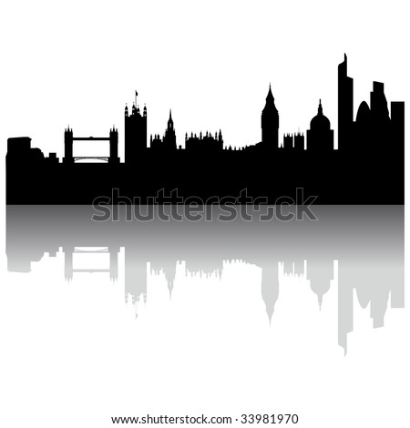 Black London silhouette skyline